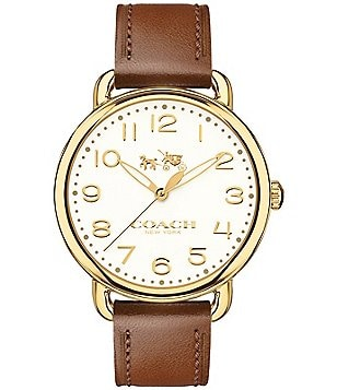 COACH DELANCEY GOLD-TONE SADDLE LEATHER STRAP WATCH