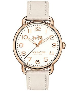 COACH DELANCEY ROSE GOLD-TONE CHALK LEATHER STRAP WATCH