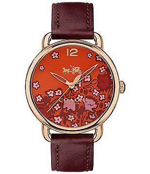 COACH DELANCEY ROSE GOLD-TONE BURGUNDY LEATHER STRAP WATCH WITH RED FLORAL PRINT DIAL