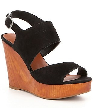 Lucky Brand Lattela Leather Banded Slingback Faux Wood Platform Wedge Sandals
