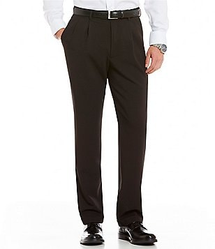 Roundtree & Yorke Double Pleated TravelSmart No Iron Tonal Herringbone Dress Pants