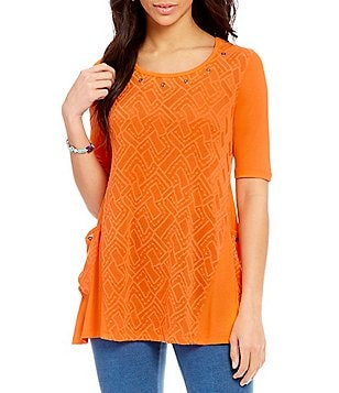 Multiples Dual Pocket Solid Jacquard Tunic