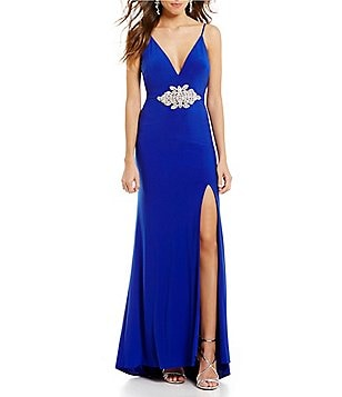 Dear Moon V-Neck Beaded Appliqué Waist Long Dress