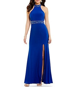 GB Social Jeweled Trim Mock Neck Open-Back Gown