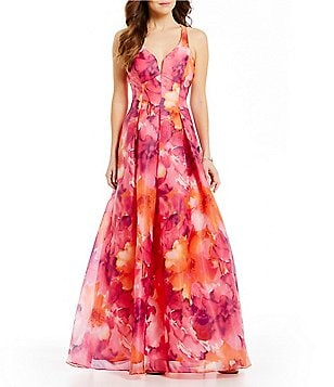 Jump Floral Print X-Back Ball Gown