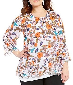 Multiples Plus 3/4 Raglan Sleeve Floral Print Top