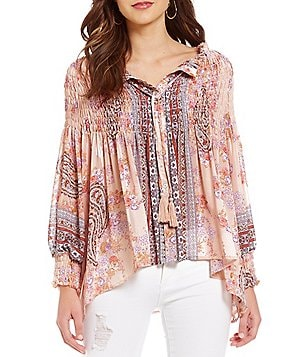 Coco + Jaimeson Printed Smocked Button-Front Tassel-Tie Top