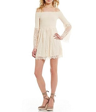Coco + Jaimeson Lace Smocked Bell-Sleeve Off-The-Shoulder Dress