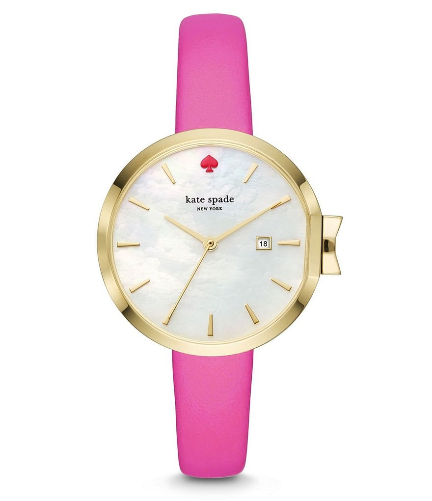 kate spade new york Park Row Bougainvillea Mother-of-Pearl Analog & Date Leather-Strap Watch