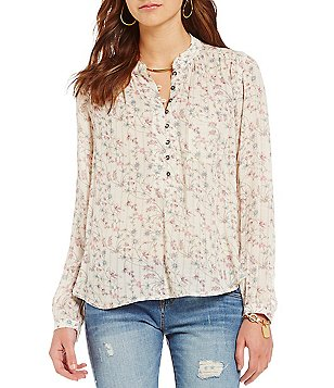 William Rast Anastasia Floral Printed High-Low Blouse
