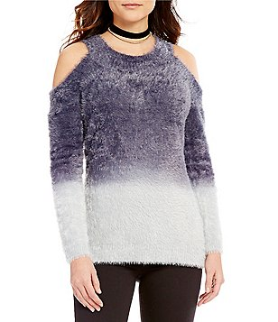 Gianni Bini Shaun Round Neck Cold-Shoulder Long Sleeve Ombre Sweater