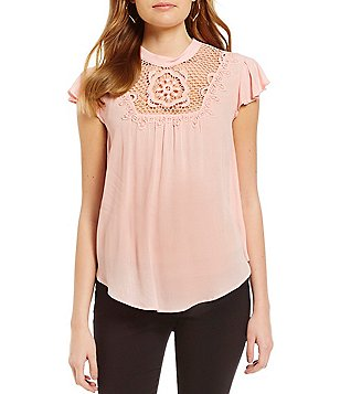 I.N. San Francisco Mock Neck Lace Yoke Flutter Short-Sleeve Top