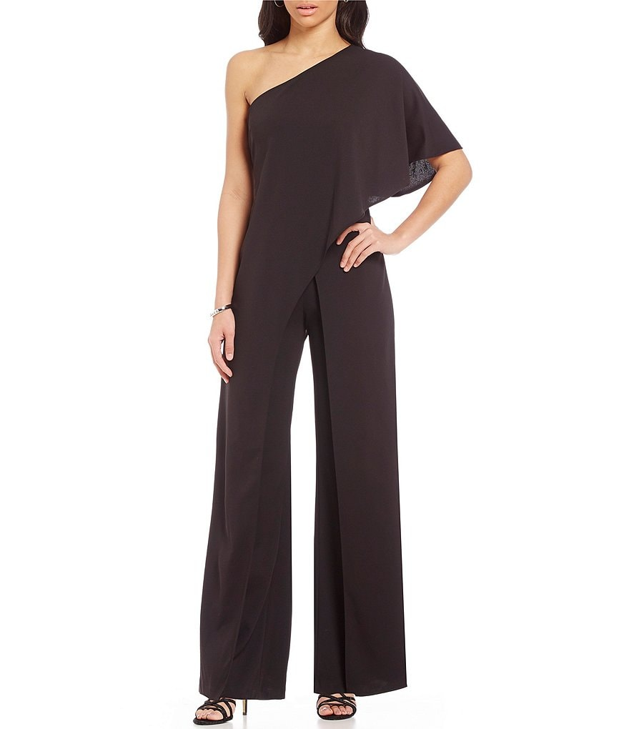 Adrianna Papell Crepe One Shoulder Jumpsuit Dillards