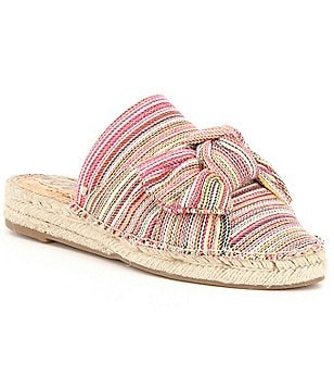 Sam Edelman Lynda Patterned Fabric Bow Detail Open Back Slip On Espadrilles