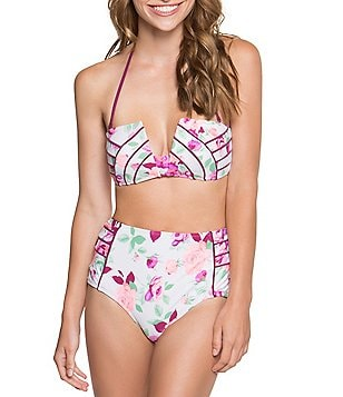 Betsey Johnson Prisoner Of Love Bandeau Bra & High Waist Bottom
