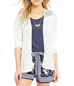 Takara Crochet Yoke Open Draped Front Cozy Cardigan