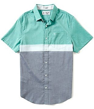 Original Penguin Colorblock Lawn Slim-Fit Short-Sleeve Woven Shirt