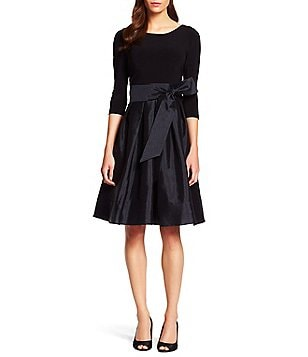 Adrianna Papell Petite Bateau Neck 3/4 Sleeve Rhinestone Trim Taffeta Fit-and-Flare Dress