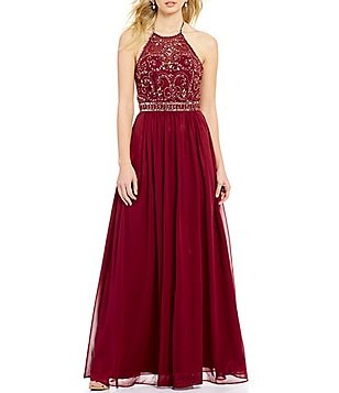 B. Darlin Swirl Beaded Halter Neckline Long Dress
