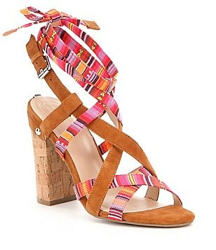 Guess Cariel Leather & Farbic Criss Cross Ankle Tie Cork Block Heel Sandals