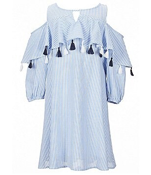 Copper Key Little Girls 4-6X Tassel Flounce Yoke Striped Cold-Shoulder Dress