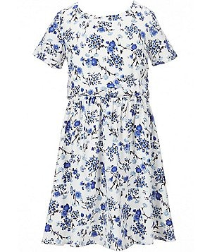 Copper Key Big Girls 7-16 Short-Sleeve Floral Printed Woven Dress