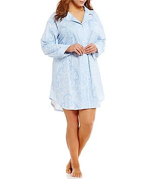 Lauren Ralph Lauren Plus Classic Notch-Collar Sleepshirt