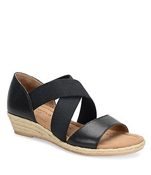 Comfortiva Brye Leather Banded Criss Cross Low Wedge Sandals