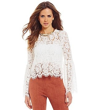 Gianni Bini Dahlia Crew Neck Bell Sleeve Lace Blouse