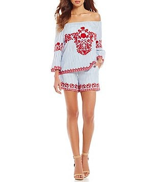 Gianni Bini Consuela Embroidered Off-the-Shoulder Stripe Blouse