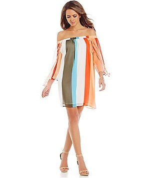 Gianni Bini Marcie Off-the-Shoulder Stripe Dress