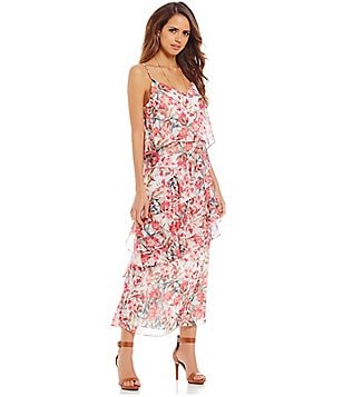 Gianni Bini Beau V-Neck Sleeveless Ruffle Trim Floral Chiffon Maxi Dress