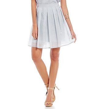 Gianni Bini Melda Basket Weave Pleated Skirt