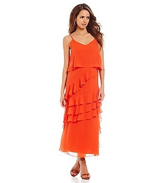 Gianni Bini Beau Chiffon Asymmetrical Ruffle Trim Maxi Dress
