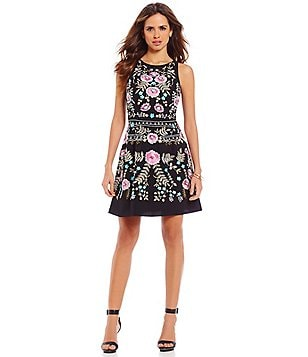 Gianni Bini Addie Crew Neck Sleeveless Floral Embroidered Swing Dress
