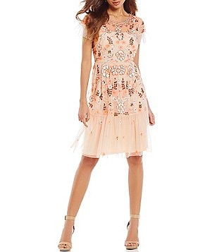 Gianni Bini Penny Round Neck Short Sleeve Floral Sequin Sheath Dress