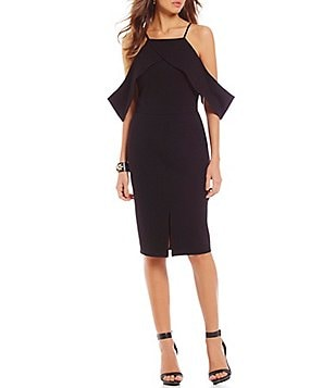 Gianni Bini Pilar Ruffled Halter Neck Cold-Shoulder Sheath Dress