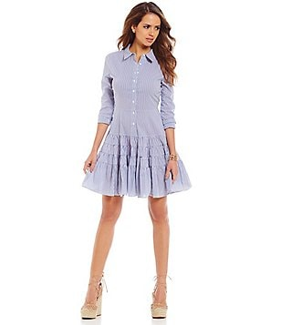 Gianni Bini Michelle Shirt Dress With Ruffle Skirt