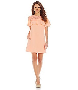 Gianni Bini Sady Lace Shoulder Ruffle Short Sleeve Dress