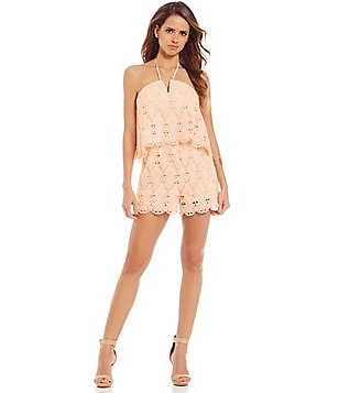 Gianni Bini Rachel Halter V-Neck Sleeveless Lace Romper