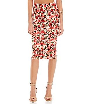 Gianni Bini Bethany High Waisted Printed Pencil Skirt