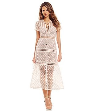 Gianni Bini Matilda Lace-Up V-Neck Short Sleeve Lace Midi Dress