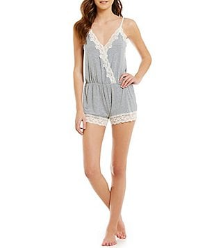 Flora Nikrooz Snuggle Lace-Trimmed Surplice Lounge Romper