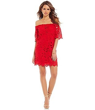 Gianni Bini Dayton Off-the-Shoulder Short Sleeve Lace Dress
