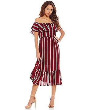 Gianni Bini Kimberly Off-the-Shoulder Stripe Midi Dress