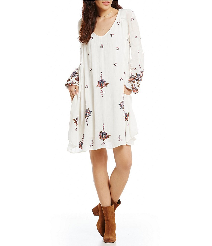 Free People Oxford Embroidered Swing Dress