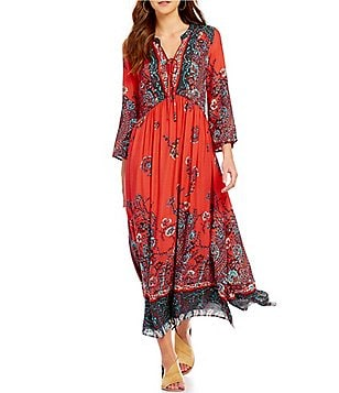 Free People If You Only Knew V-Neck Long Sleeve Printed Maxi Dress