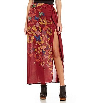 Free People Bri Bri Butterfly Self Tie Side Slit Printed Faux-Wrap Skirt