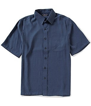 Roundtree & Yorke Short-Sleeve Solid Polynosic Point Collar Sportshirt
