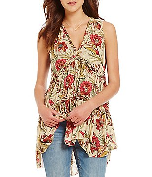 Free People Purple Haze V-Neck Sleeveless Tiered Printed Tunic